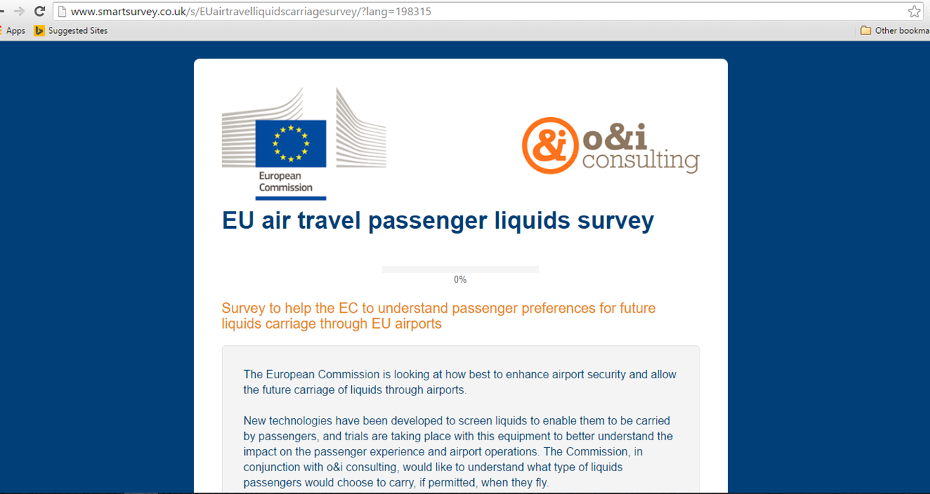 Survey regarding passenger preferences for the future carriage of liquids through airports